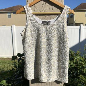 Chico's Travelers Leopard Tank Top Textured White